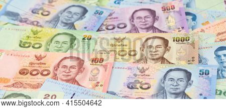 Thai baht note depicting king of Thailand