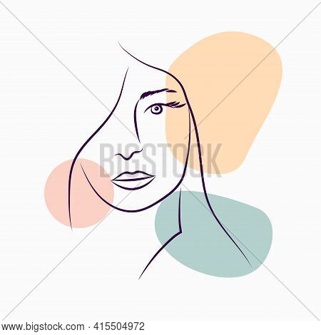 Women's Portraits. Female Abstract Hand-drawn Modern Portrait, Silhouettes Of Fashionable Girls, Mod