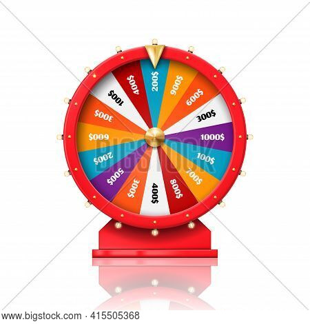 Wheel Of Fortune, Lucky Win Spin Game And Casino Roulette, Vector. Fortune Wheel With Arrow For Doll
