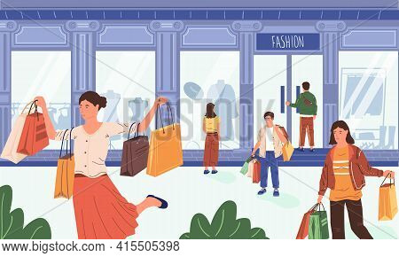 Street Shop. Cartoon Customers Walking At Retail Store With Shopping Bags. Happy People Carrying Pur
