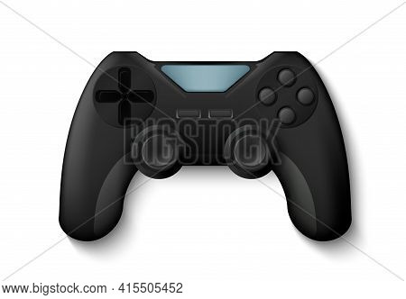 Joystick. Realistic Gamepad, 3d Play Console For Control Game Character. Isolated Electronic Equipme