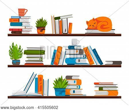 Bookshelves. Shelf In Library Room. Place For Storage Books. Rack With Stacks Of Textbooks Or Notepa
