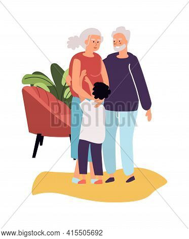 Grandparents With Grandson. Cartoon Grandma And Grandpa Hugging Boy. Multi Generation Family Relatio