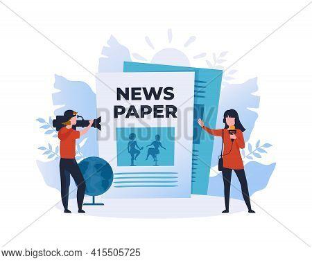 Online Newspaper. Cartoon People Recording Reportage. News Website. Videographer Filming Reporters R