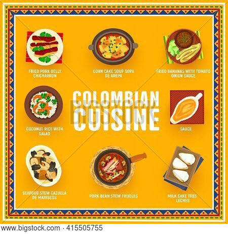 Colombian Cuisine Vector Fried Bananas With Tomato Onion Sauce, Pork Bean Stew Frijoles. Seafood Ste