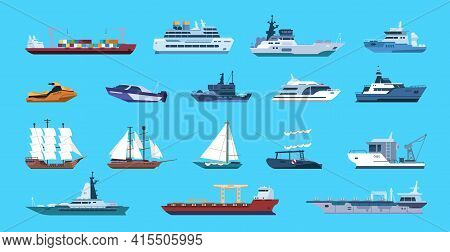 Boats. Cartoon Nautical Ships. Passenger Or Cargo Vessels And Warships. Side View Of Marine Transpor