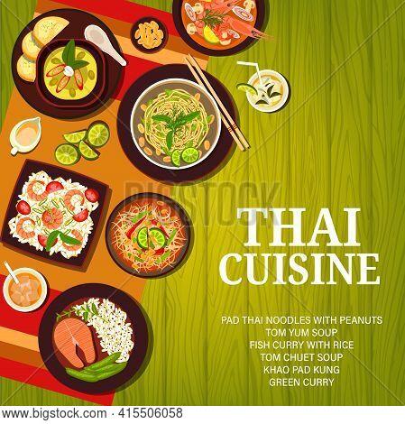 Thai Food Menu, Thailand Cuisine Dishes, Rice And Soup, Vector Asian Restaurant Background. Thai Cui