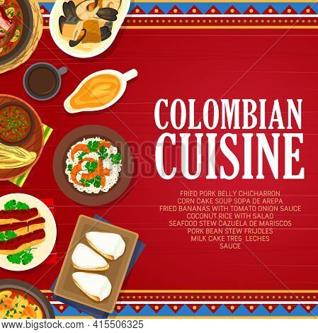 Colombian Cuisine Vector Fried Bananas With Tomato Onion Sauce, Milk Cake Tres Leches And Seafood St