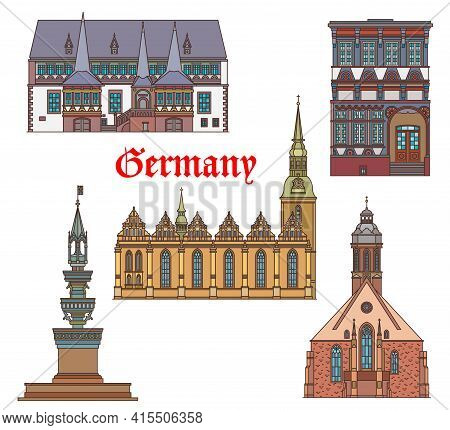 Germany Landmarks Architecture Cathedral, Church And German City Buildings, Vector. St Jakobus Kirch