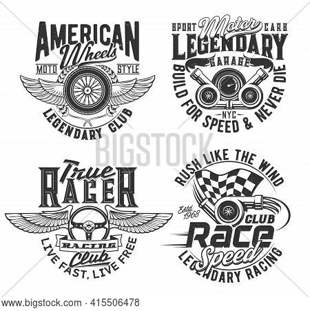 Races Club T-shirt Prints, Speed Wheel And Wings, Vector Icons. Motorcycle Races, Bikers Club, Motor