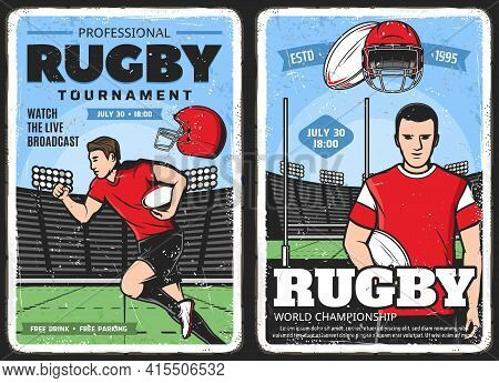 Rugby Tournament, American Football Sport Posters, Vector Vintage. Rugby Football League, Varsity An