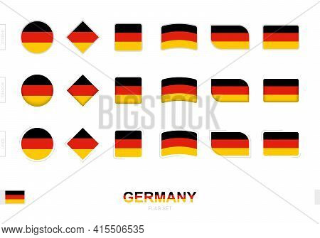 Germany Flag Set, Simple Flags Of Germany With Three Different Effects. Vector Illustration.