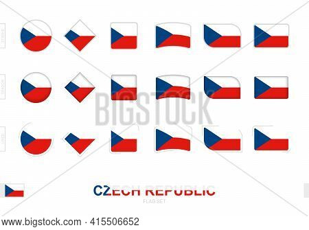 Czech Republic Flag Set, Simple Flags Of Czech Republic With Three Different Effects. Vector Illustr