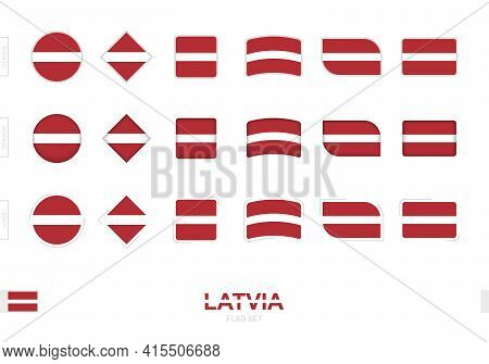 Latvia Flag Set, Simple Flags Of Latvia With Three Different Effects. Vector Illustration.