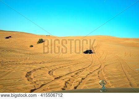 Dubai, United Arab Emirates – April 2, 2021, Early Morning Off-roading And Dune Bashing Around Nazwa