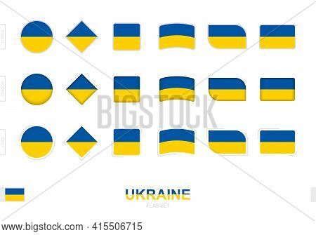 Ukraine Flag Set, Simple Flags Of Ukraine With Three Different Effects. Vector Illustration.