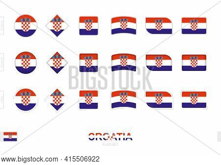 Croatia Flag Set, Simple Flags Of Croatia With Three Different Effects. Vector Illustration.