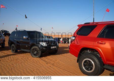 Dubai, United Arab Emirates - April 2, 2021, Early Morning Off-roading And Dune Bashing Around Nazwa