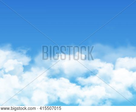 Sky And Clouds, Blue Realistic Background, Vector Cloudy Summer Heaven. White Light Clouds In Sky, S