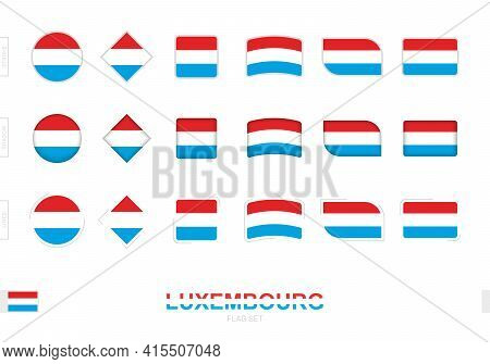 Luxembourg Flag Set, Simple Flags Of Luxembourg With Three Different Effects. Vector Illustration.
