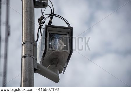 Chicago Red Light Camera At Chicago And State, Installed To Catch People Driving Through A Red Light