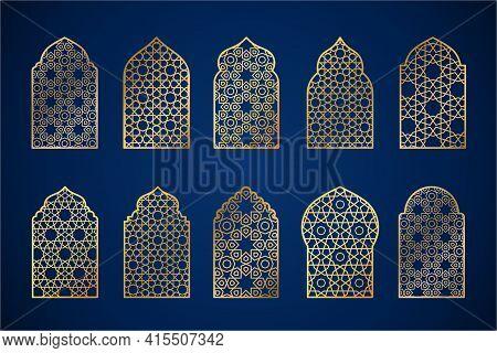 Set Of Gold Ornate Arab Windows Silhouettes. Vector Illustration. Ramadan Kareem Design Element, Inv