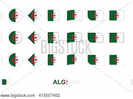 Algeria Flag Set, Simple Flags Of Algeria With Three Different Effects. Vector Illustration.