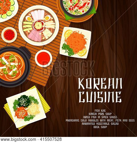 Korean Cuisine Food Dishes, Restaurant Menu Cover With Korea Traditional Meals. Korean Food Kimchi A