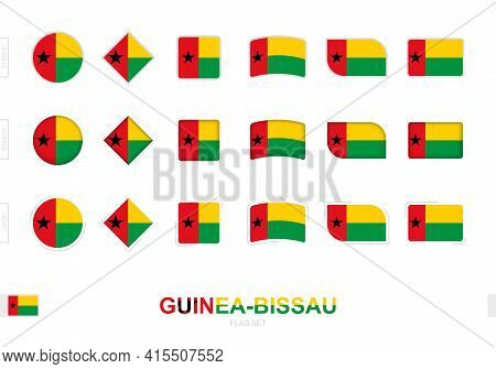 Guinea-bissau Flag Set, Simple Flags Of Guinea-bissau With Three Different Effects. Vector Illustrat