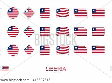 Liberia Flag Set, Simple Flags Of Liberia With Three Different Effects. Vector Illustration.
