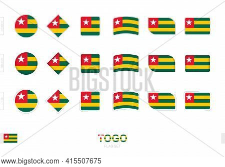 Togo Flag Set, Simple Flags Of Togo With Three Different Effects. Vector Illustration.