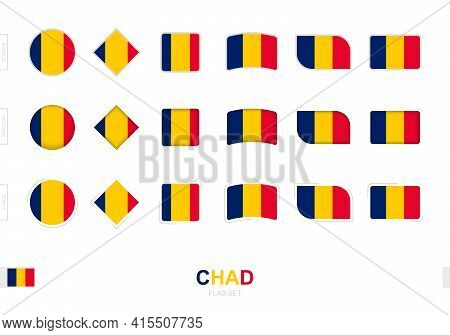 Chad Flag Set, Simple Flags Of Chad With Three Different Effects. Vector Illustration.