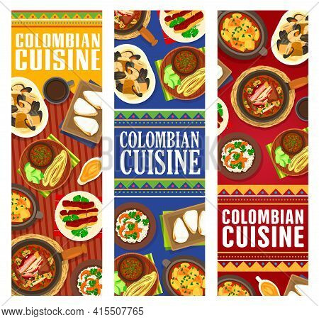Colombian Cuisine Vector Seafood Stew Cazuella De Mariscos, Fried Bananas With Tomato Onion Sauce. F