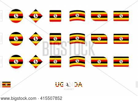 Uganda Flag Set, Simple Flags Of Uganda With Three Different Effects. Vector Illustration.