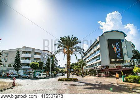 Alanya, Turkey - October 20, 2020:  Buildings on Ahmet Tokus Boulevard in Alanya, Turkey.