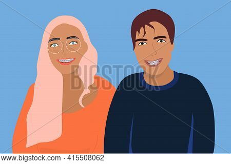Couple Smiling With Dental Braces On Their Teeth. Young Man And Woman With Orthodontic Metal Retaine