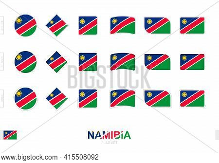 Namibia Flag Set, Simple Flags Of Namibia With Three Different Effects. Vector Illustration.