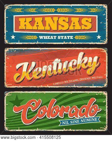 Kansas, Kentucky And Colorado Plates, Usa States Tin Signs. America Region Vector Grunge Plates, Old
