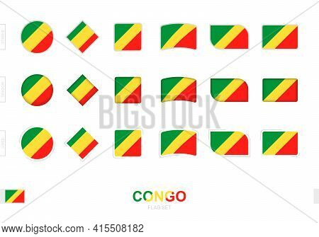 Congo Flag Set, Simple Flags Of Congo With Three Different Effects. Vector Illustration.