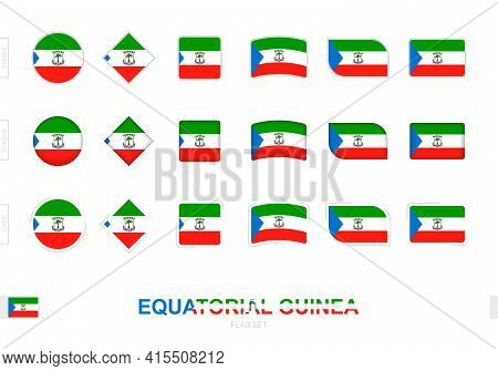 Equatorial Guinea Flag Set, Simple Flags Of Equatorial Guinea With Three Different Effects. Vector I
