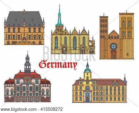 Germany Landmarks Architecture, Houses And Cathedrals, Vector City Buildings. German Travel Landmark