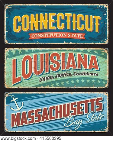 Connecticut, Louisiana And Massachusetts Us States Tin Signs. Usa Regions Plate With Retro Typograph
