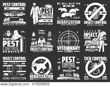 Pest Control, Disinsection Company Service Vector Icons. Home Protection Retro Emblems With Insects