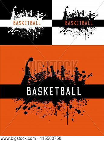 Basketball Posters With Color Splash, Sport Club Tournament, Vector Orange Background. Basketball Le