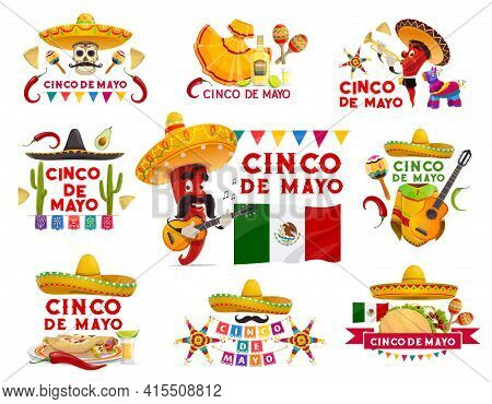 Cinco De Mayo Vector Icons Pinata, Jalapeno Pepper Mustached Musician In Sombrero Playing Guitar. Ma