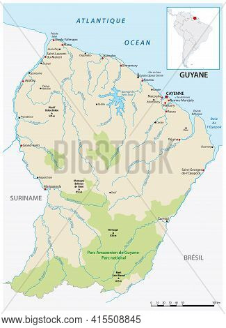 Detailed Vector Map Of The South American State Of French Guiana