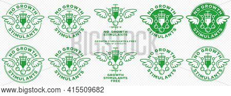 Concept For Packaging. Without Growth Stimulants.a Stamp With Wings And A Syringe With A Hormonal Dr