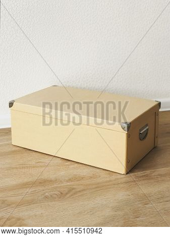 Beige Folding Storage Box Made Of Durable Cardboard For Storing Papers, Documents, Various Items