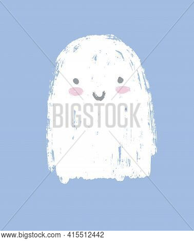 Happy Little Ghost. Sweet Halloween Party Vector Illustration Ideal For Card, Wall Art, Poster, Invi