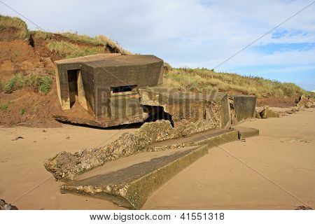 ruined concrete bunker